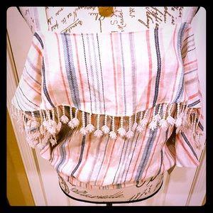 NWT Takara boho chic striped cold shoulder L